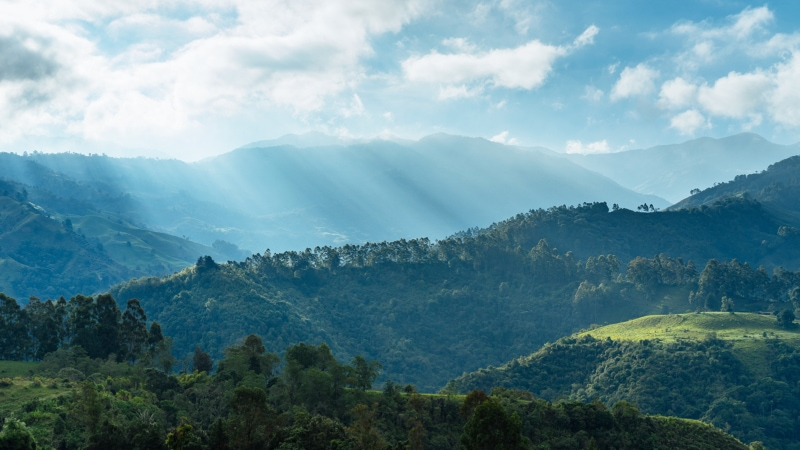 Sunlight over the mountains in Colombia