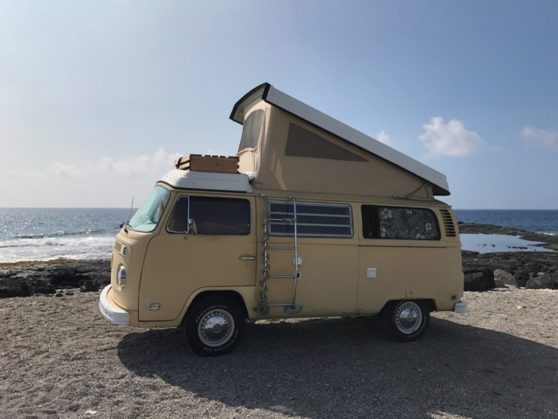 A Volkswagen Westfalia with a fold-top