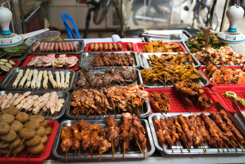 Chinese street food with skewers