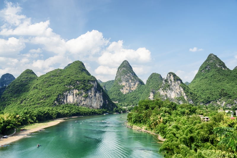the mountains and a river in Guilin