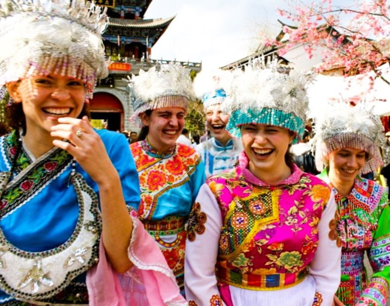Teachers celebrating a festival in China