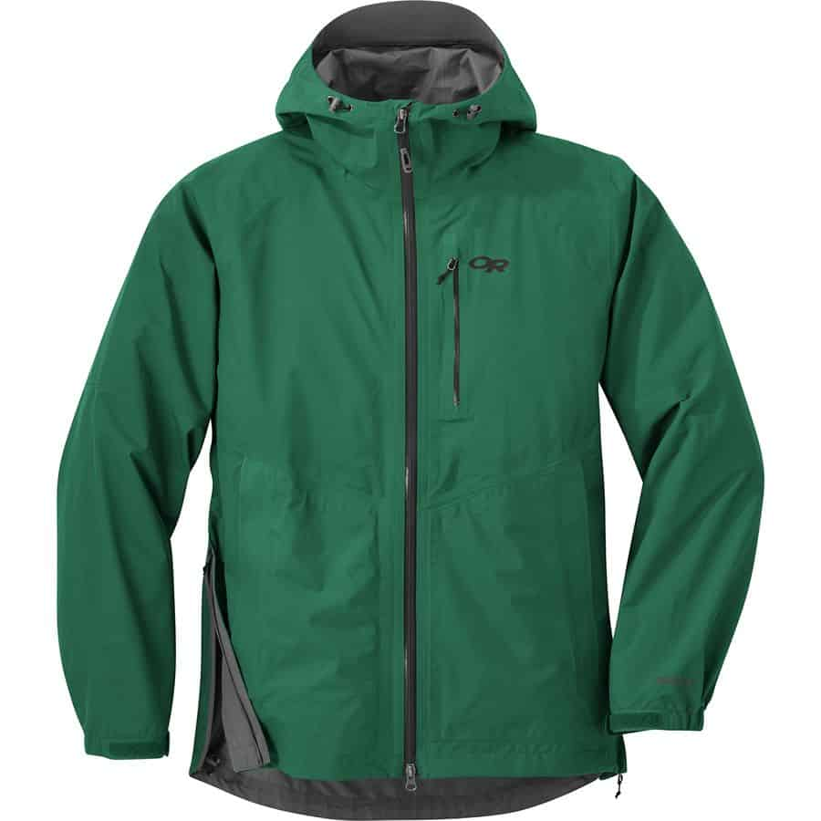 Outdoor Research Foray rain jacket in green, for men