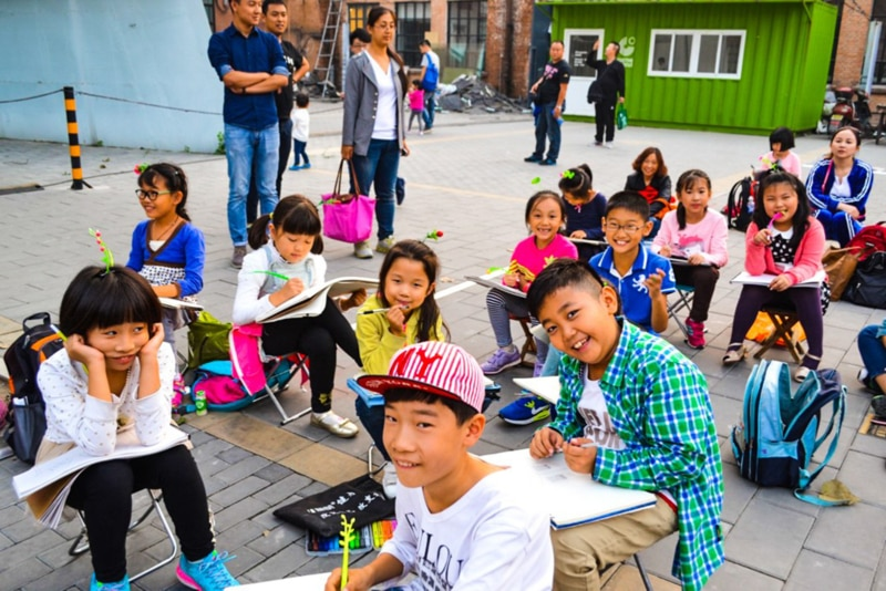 Students learning English in China