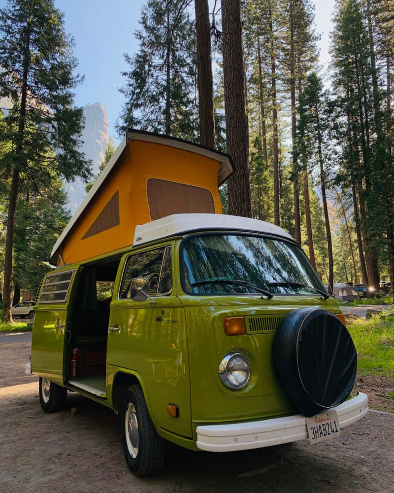 An Outdoorsy campervan rental with a pop-up top