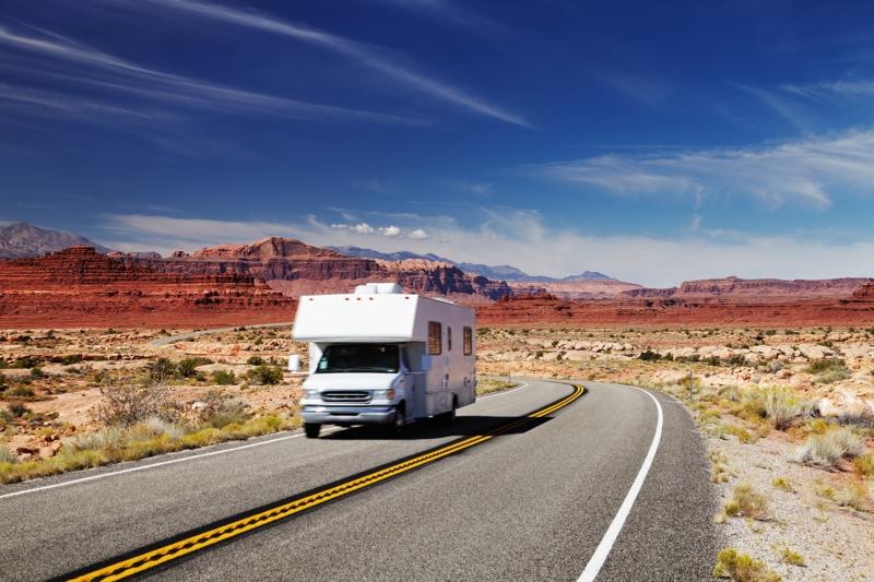 RV driving through Colorado