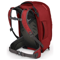 Osprey Farpoint 40 in red with straps