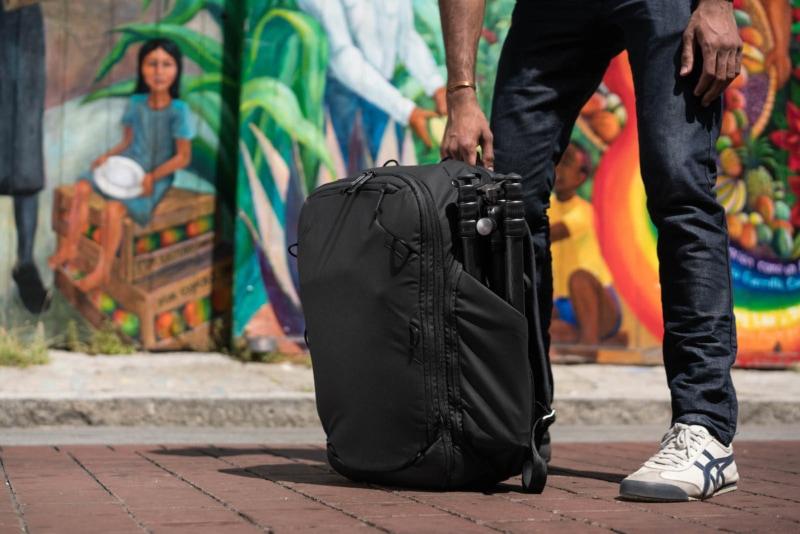 Peak Design Travel Backpack against a graffiti wall