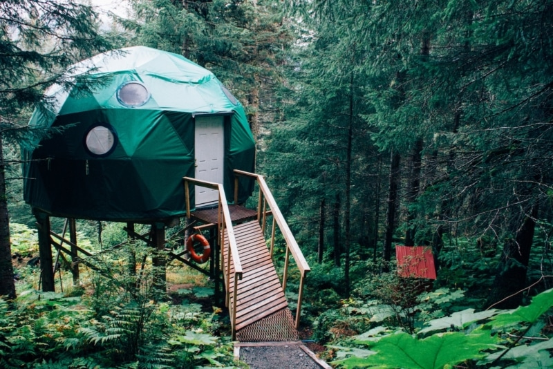 a green yurt in the woods