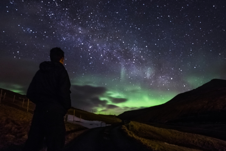 the Northern Lights in the Faroe Islands, Denmark