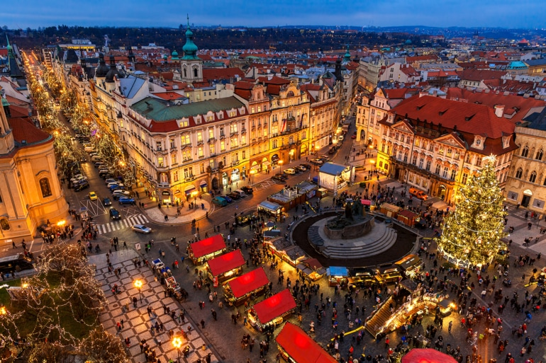 aerial view of the Christmas markets in Prague's city center, Czech Republic