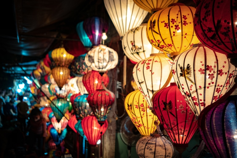 beautiful lighted lanterns in Hoi An, Vietnam