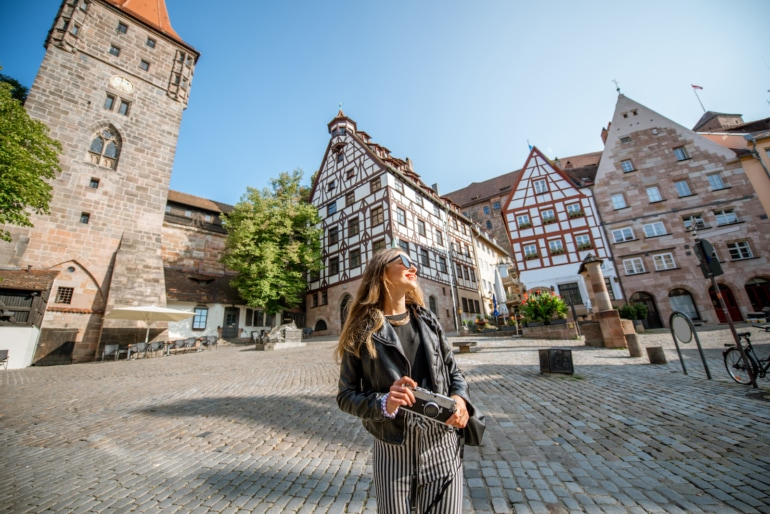 Woman traveling in the old town of Nurnberg, Germany