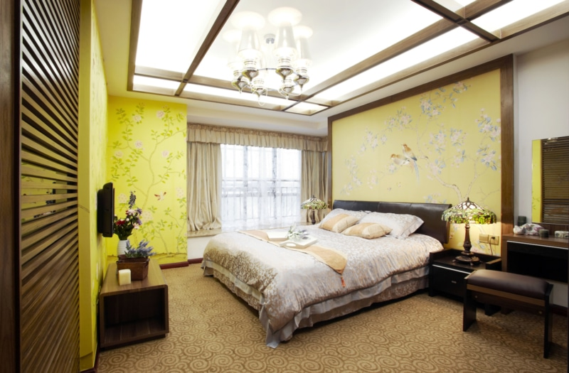 a yellow hotel room in China