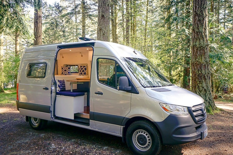 A campervan in the forest