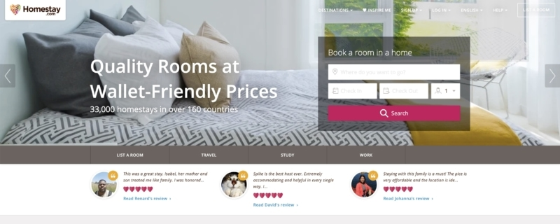 Homestay has plenty of properties and rentals options to stay with local families—kind of like Airbnb.