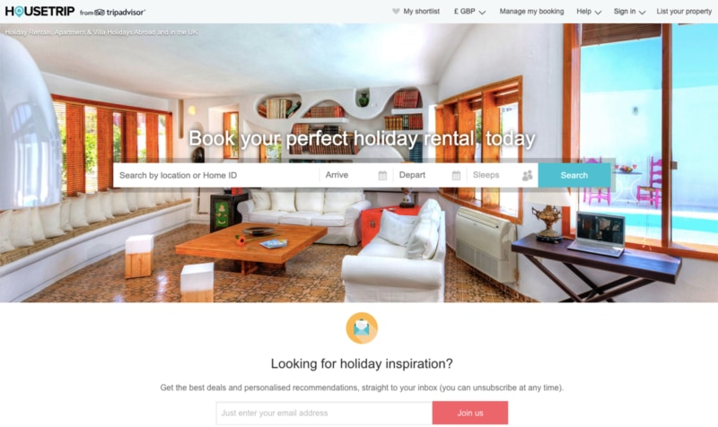HouseTrip is another option like Airbnb for short-term vacation rentals provided by TripAdvisor.