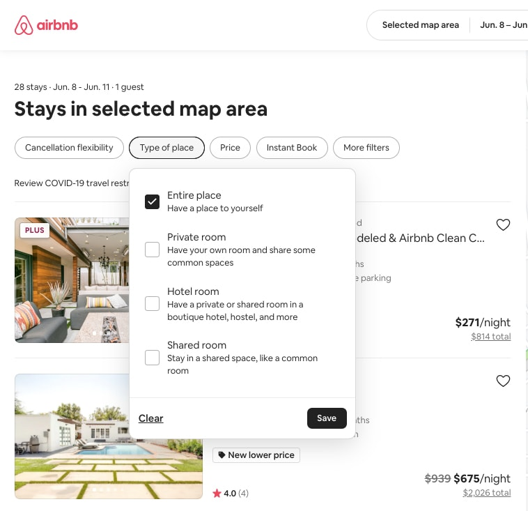 Airbnb search results filters
