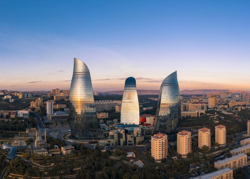 Flame Towers in Baku, Azerbaijan